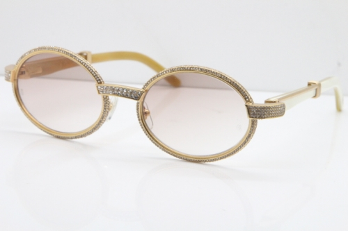 Cartier Smaller Big Stones 7550178 White Genuine Natural Horn Sunglasses Vintage In Gold Brown Lens(Limited edition)