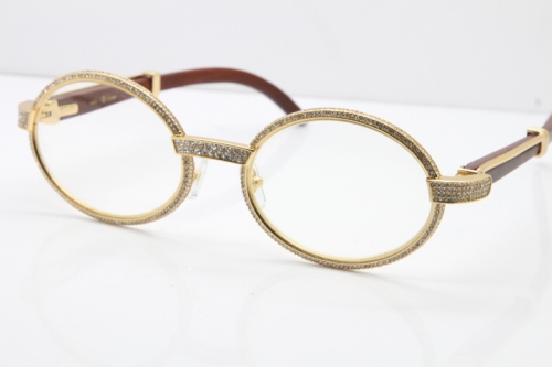 Cartier Vintage 7550178 Wood Smaller Big Stones Eyeglasses In Gold(Limited edition)