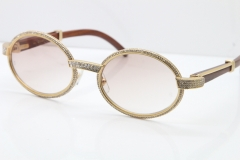Cartier Vintage 7550178 Wood Smaller Big Stones Sunglasses In Gold Brown Lens(Limited edition