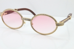 Cartier Vintage 7550178 Wood Smaller Big Stones Sunglasses In Gold Pink Lens(Limited edition)