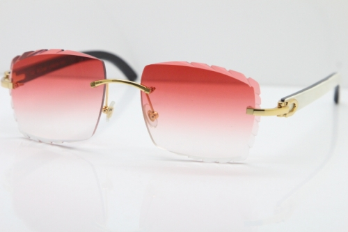 Cartier Rimless 8300816 White Inside Black Buffalo Horn Sunglasses In Gold Red Lens
