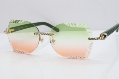 Cartier Rimless T8200762 Big Diamond Green Aztec Arms Sunglasses In Gold Green Brown Lens