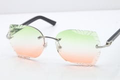Cartier Rimless T8200762 Black Aztec Arms Sunglasses In Silver Green Brown Lens