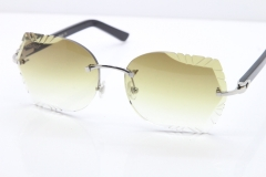 Cartier Rimless T8200762 Black Aztec Arms Sunglasses In Silver Brown Lens