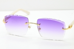 Cartier Rimless 8300816 White Aztec Arms Sunglasses In Gold Purple Lens