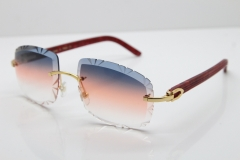 Cartier Rimless 8300816 Marble Red Aztec Arms Sunglasses In Gold Orange Lens